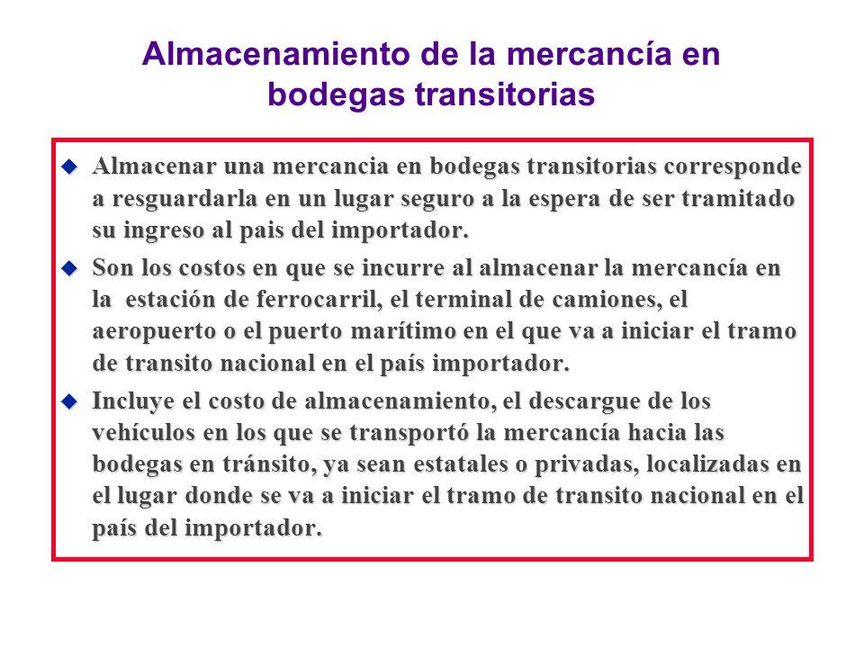 Almacenamiento de la mercancía en bodegas transitorias u Almacenar una mercancia en bodegas transitorias corresponde a resguardarla en un lugar seguro
