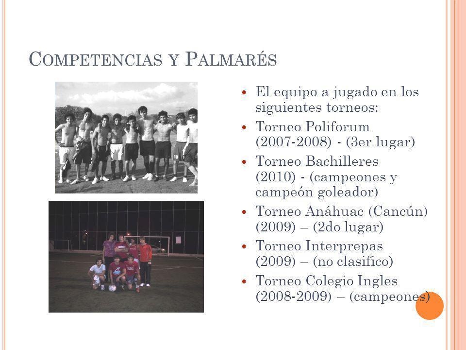C OMPETENCIAS Y P ALMARÉS El equipo a jugado en los siguientes torneos: Torneo Poliforum (2007-2008) - (3er lugar) Torneo Bachilleres (2010) - (campeo