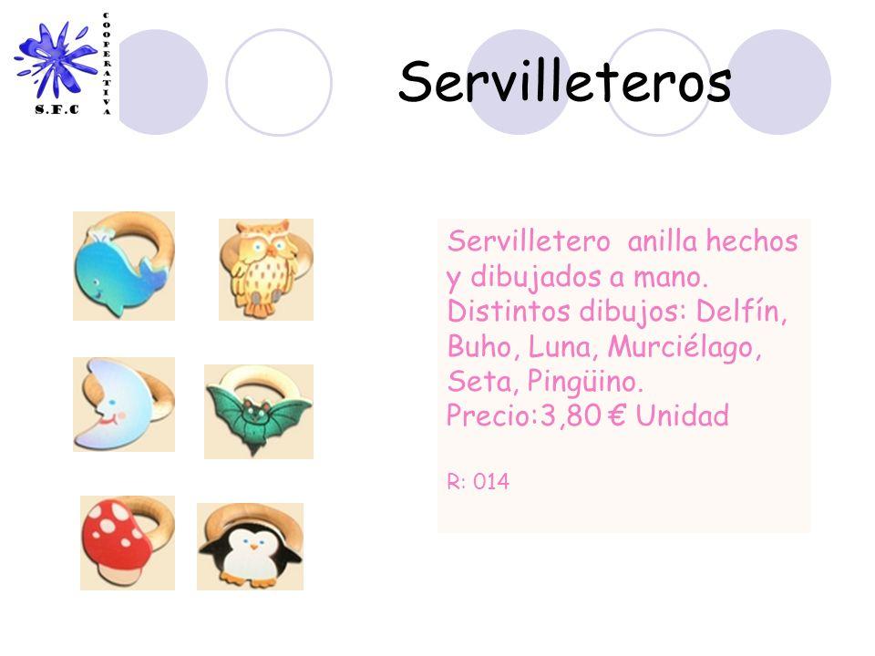 Servilleteros Servilletero anilla hechos y dibujados a mano. Distintos dibujos: Delfín, Buho, Luna, Murciélago, Seta, Pingüino. Precio:3,80 Unidad R: