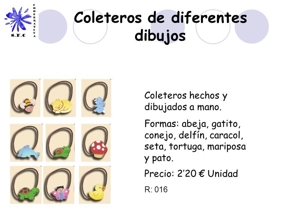 Coleteros de diferentes dibujos Coleteros hechos y dibujados a mano. Formas: abeja, gatito, conejo, delfín, caracol, seta, tortuga, mariposa y pato. P