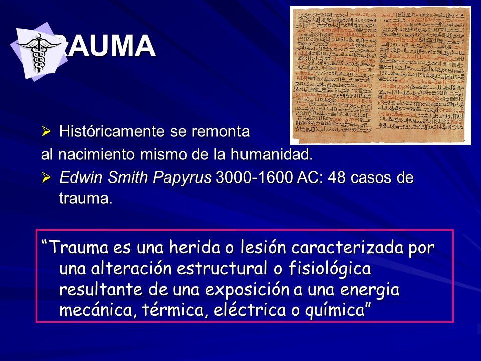 TRAUMA Históricamente se remonta Históricamente se remonta al nacimiento mismo de la humanidad. Edwin Smith Papyrus 3000-1600 AC: 48 casos de trauma.