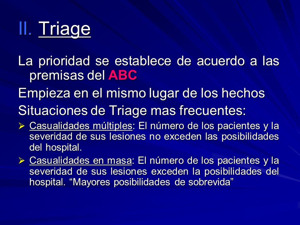 II. Triage La prioridad se establece de acuerdo a las premisas del ABC Empieza en el mismo lugar de los hechos Situaciones de Triage mas frecuentes: C