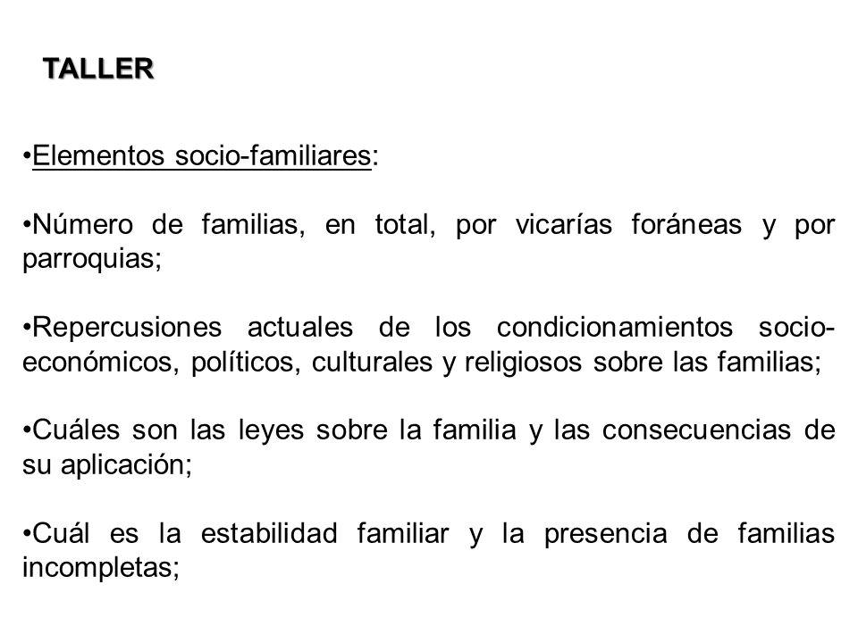 Elementos socio-familiares: Número de familias, en total, por vicarías foráneas y por parroquias; Repercusiones actuales de los condicionamientos soci