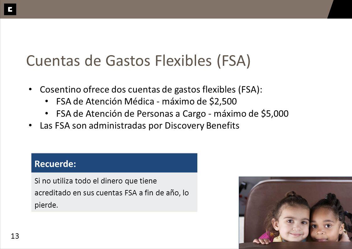 13 Cuentas de Gastos Flexibles (FSA) Cosentino ofrece dos cuentas de gastos flexibles (FSA): FSA de Atención Médica - máximo de $2,500 FSA de Atención