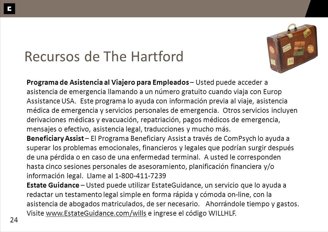 24 Recursos de The Hartford Programa de Asistencia al Viajero para Empleados – Usted puede acceder a asistencia de emergencia llamando a un número gra