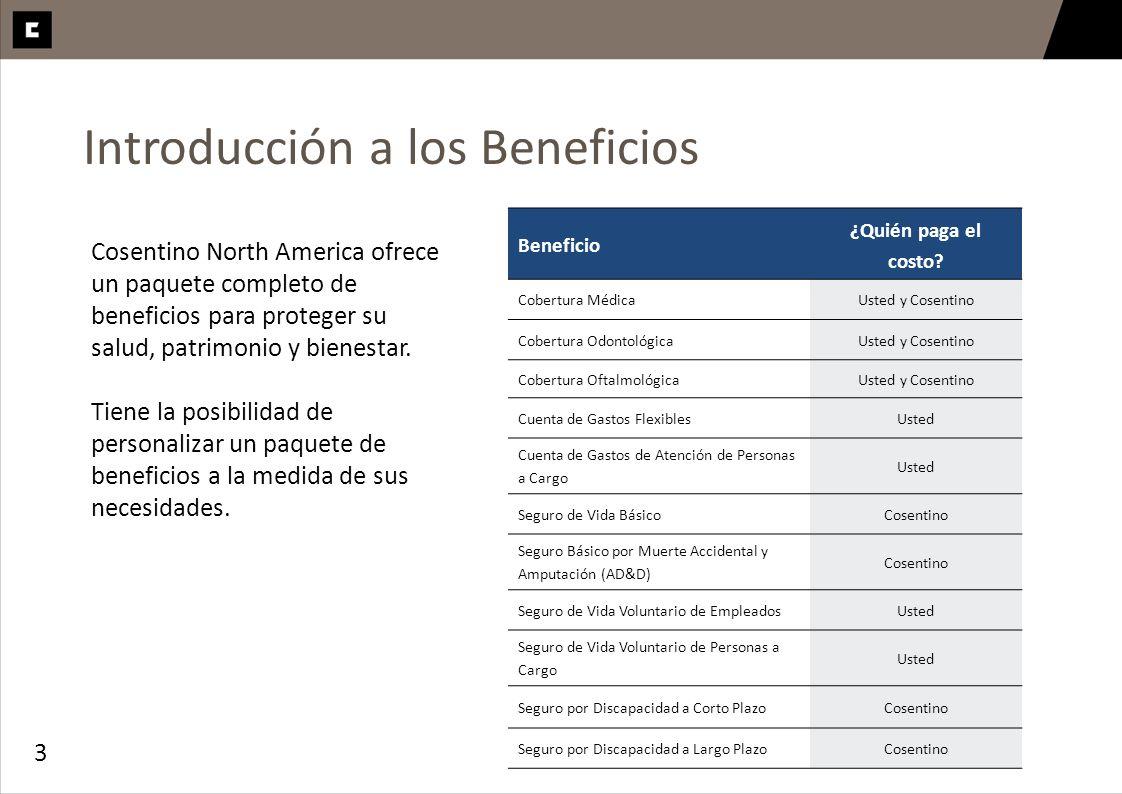 3 Introducción a los Beneficios Cosentino North America ofrece un paquete completo de beneficios para proteger su salud, patrimonio y bienestar. Tiene