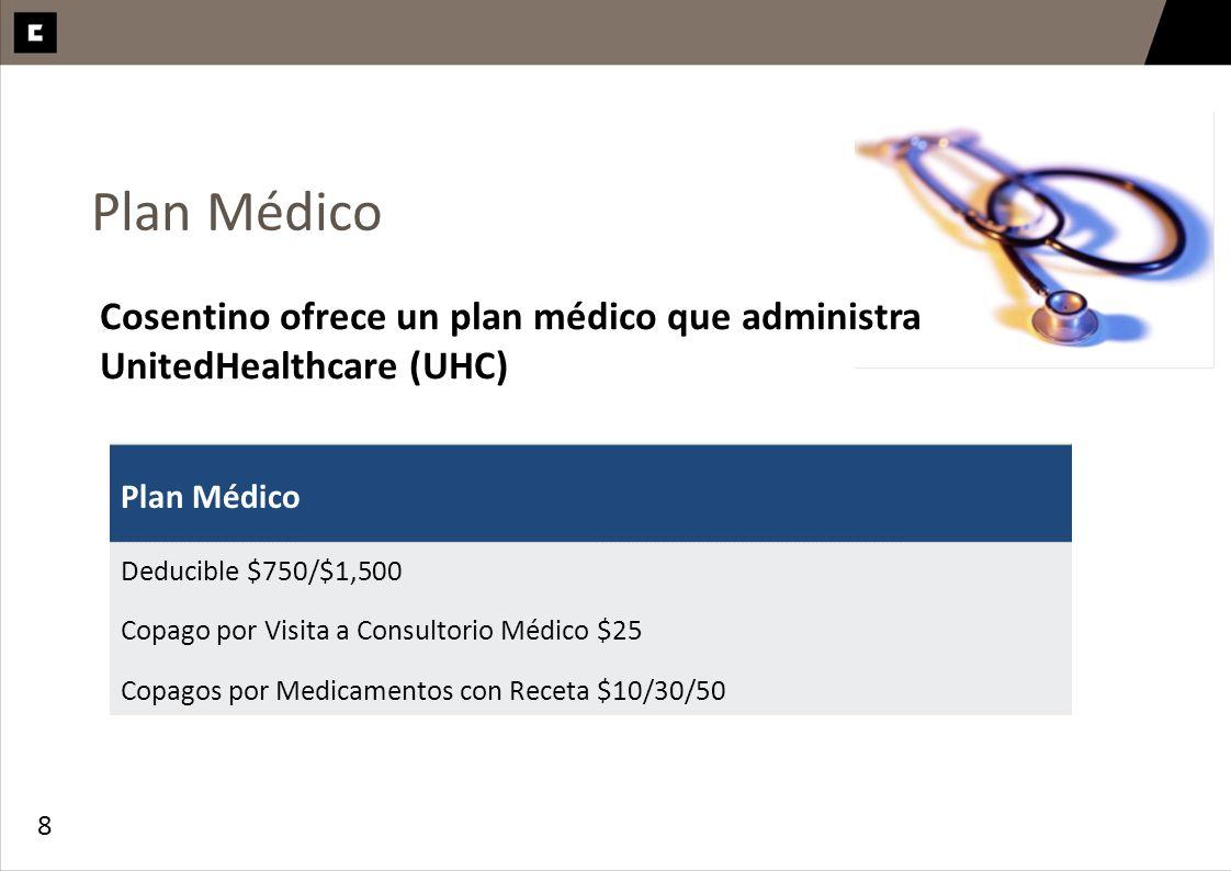 8 Plan Médico Deducible $750/$1,500 Copago por Visita a Consultorio Médico $25 Copagos por Medicamentos con Receta $10/30/50 Cosentino ofrece un plan