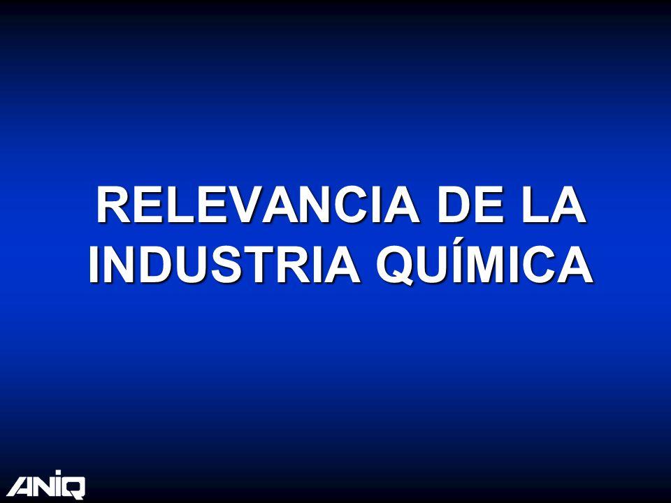 Relevancia de la Industria Química Es una industria clave en las cadenas productivas.