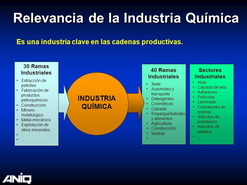 Relevancia de la Industria Química Es una industria clave en las cadenas productivas. 30 Ramas Industriales INDUSTRIA QUÍMICA 40 Ramas Industriales Se