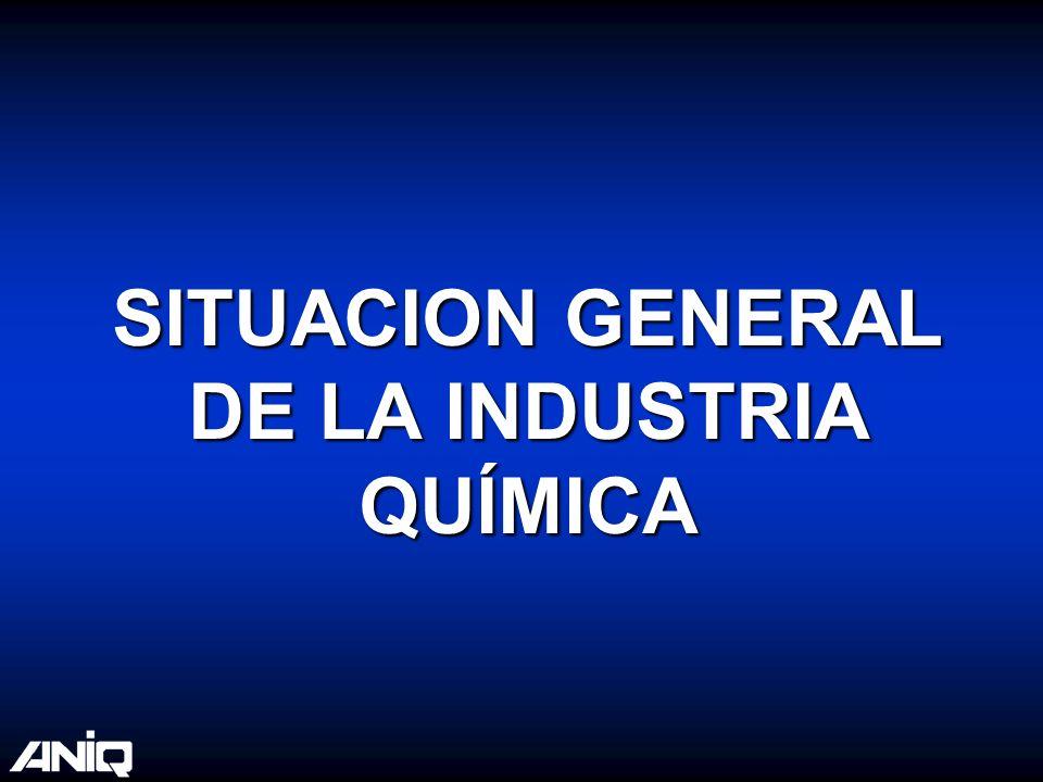 Balanza Comercial de la Industria Química Fuente: ANIQ 8.9 3.6 -5.4 21.4 11.3 -10.1