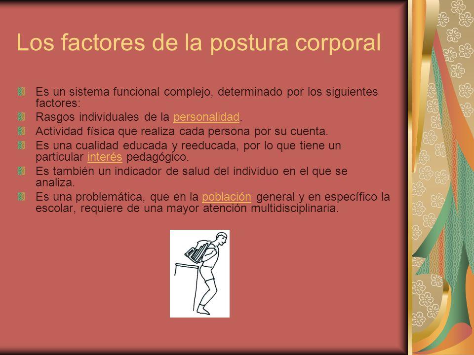 Los factores de la postura corporal Es un sistema funcional complejo, determinado por los siguientes factores: Rasgos individuales de la personalidad.