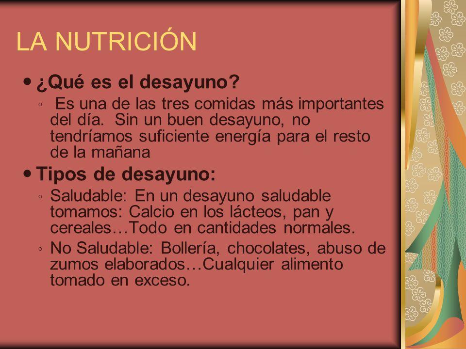 LA NUTRICIÓN ¿Qué es el desayuno? Es una de las tres comidas más importantes del día. Sin un buen desayuno, no tendríamos suficiente energía para el r