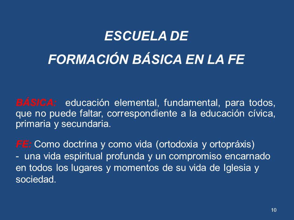 9 ESCUELA DE FORMACIÓN BÁSICA EN LA FE ESCUELA: Porque la catequesis es algo programado, escolarizado, completo, largo, tal como dicen los documentos