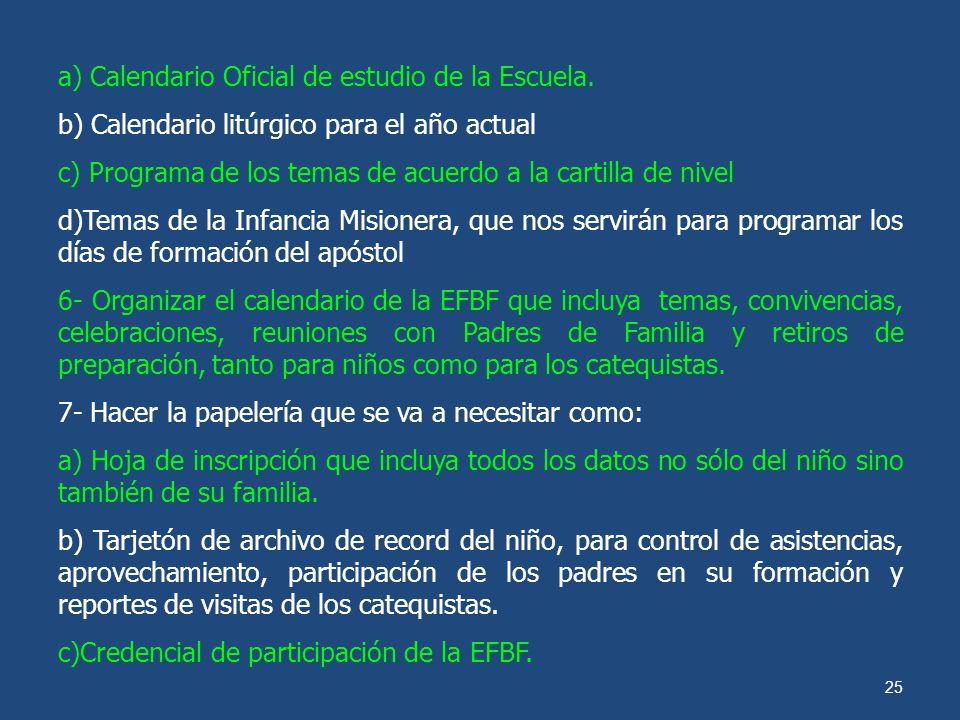 24 ORGANIZACIÓN DEL PROCESO DE APERTURA DE LA ESCUELA DE FORMACIÓN BÁSICA EN LA FE 1- Organizar la estructura de la escuela de la fe tomando como base