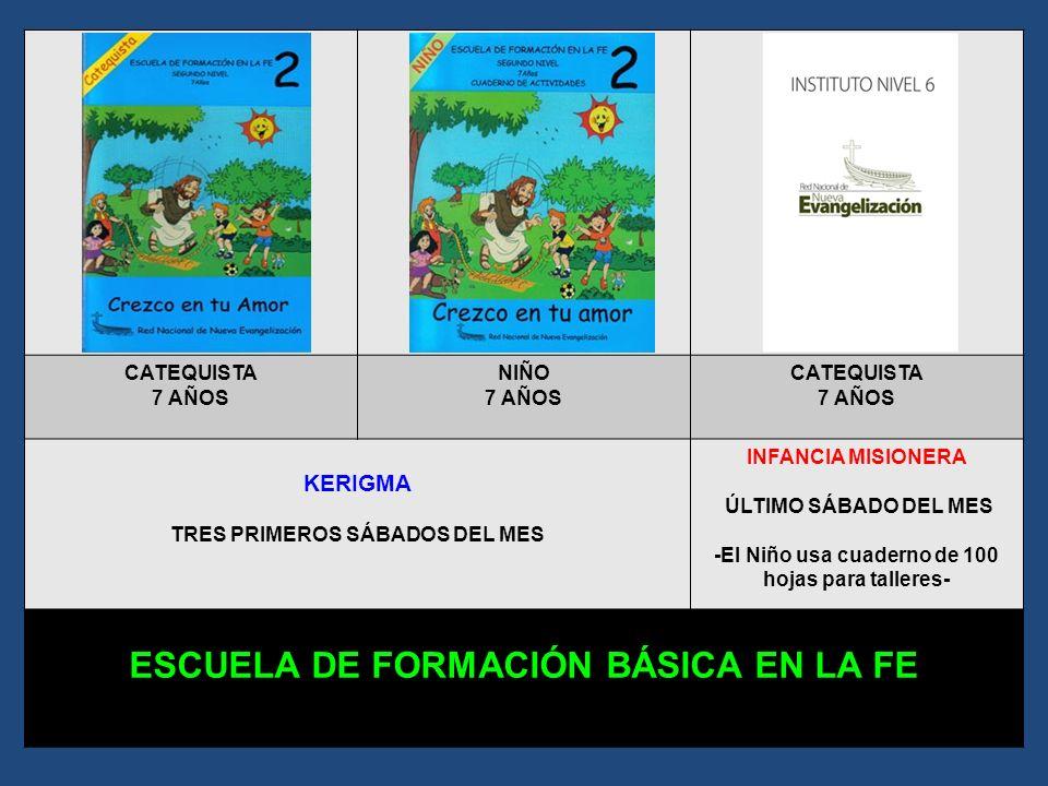 CATEQUISTA 6 AÑOS NIÑO 6 AÑOS CATEQUISTA 6 AÑOS KERIGMA TRES PRIMEROS SÁBADOS DEL MES INFANCIA MISIONERA ÚLTIMO SÁBADO DEL MES -El Niño usa cuaderno d