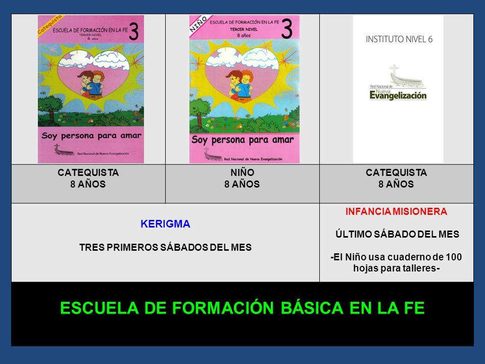 CATEQUISTA 7 AÑOS NIÑO 7 AÑOS CATEQUISTA 7 AÑOS KERIGMA TRES PRIMEROS SÁBADOS DEL MES INFANCIA MISIONERA ÚLTIMO SÁBADO DEL MES -El Niño usa cuaderno d