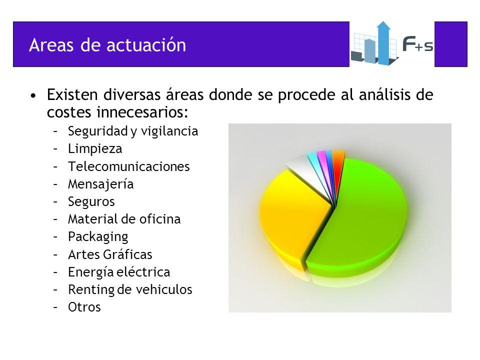 Areas de actuación Existen diversas áreas donde se procede al análisis de costes innecesarios: –Seguridad y vigilancia –Limpieza –Telecomunicaciones –