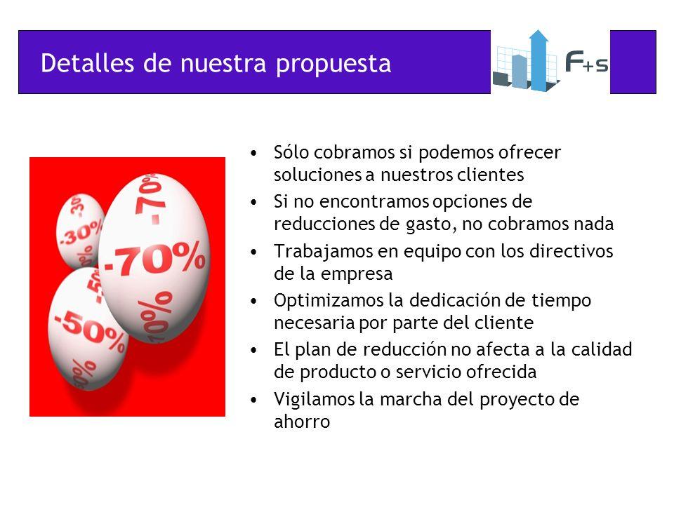 Detalles de nuestra propuesta Sólo cobramos si podemos ofrecer soluciones a nuestros clientes Si no encontramos opciones de reducciones de gasto, no c