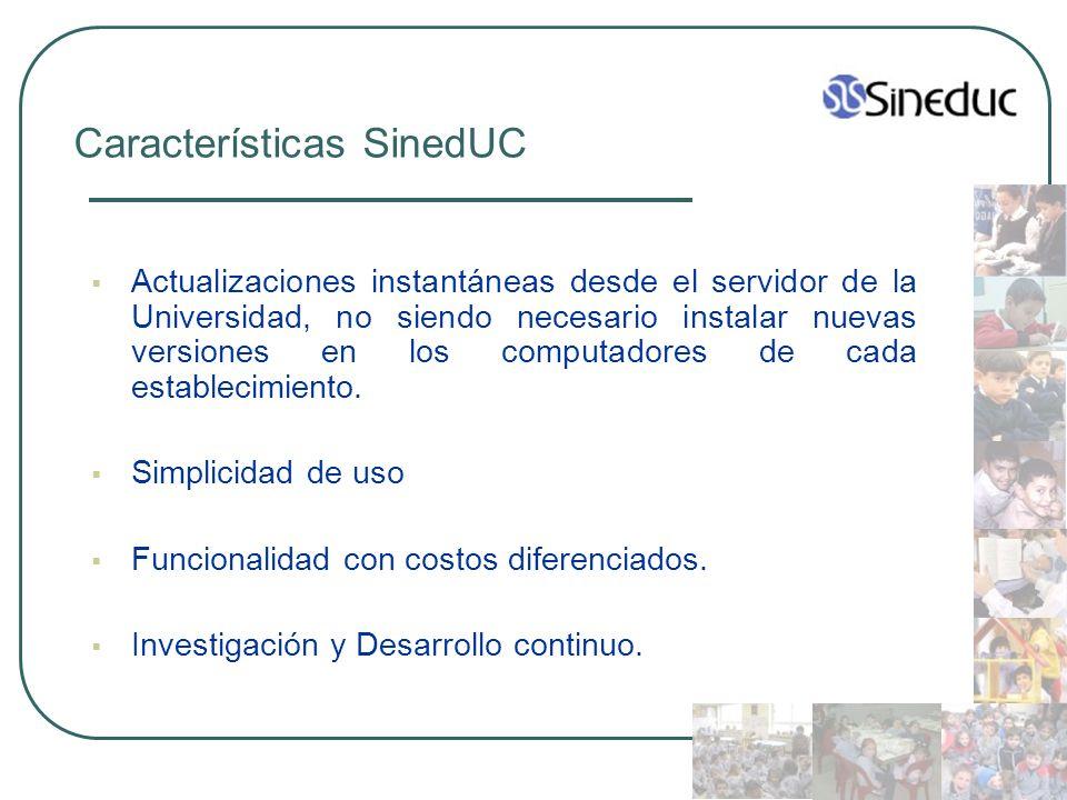 Características SinedUC Actualizaciones instantáneas desde el servidor de la Universidad, no siendo necesario instalar nuevas versiones en los computa