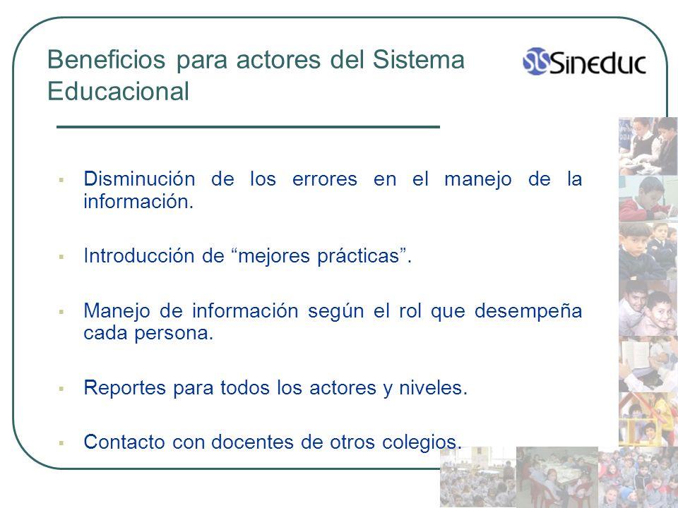 Beneficios para actores del Sistema Educacional Disminución de los errores en el manejo de la información. Introducción de mejores prácticas. Manejo d