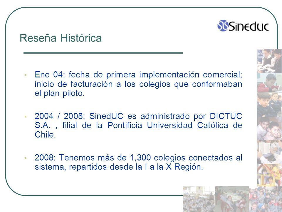 Reseña Histórica Ene 04: fecha de primera implementación comercial; inicio de facturación a los colegios que conformaban el plan piloto. 2004 / 2008: