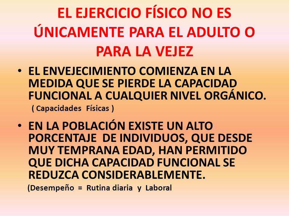 EL EJERCICIO FÍSICO NO ES ÚNICAMENTE PARA EL ADULTO O PARA LA VEJEZ LA DISMINUCIÓN DELA CAPACIDAD FUNCIONAL DE LAS CÉLULAS, ORGANOS Y SISTEMAS, NO OCU