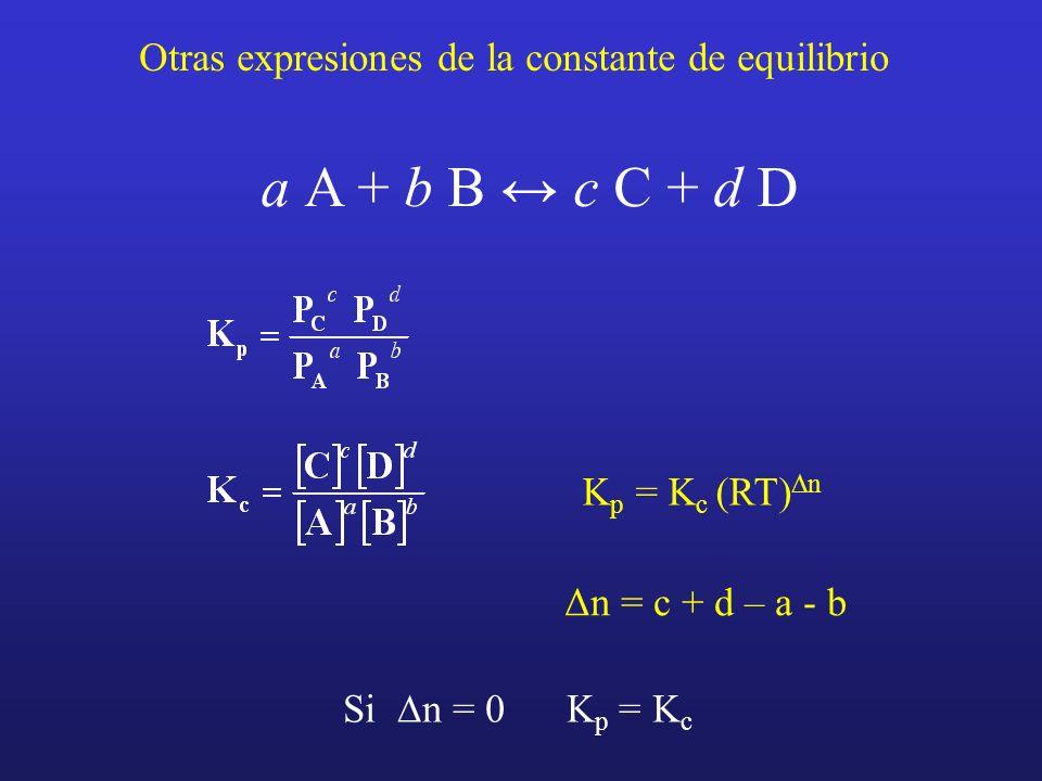 Otras expresiones de la constante de equilibrio a A + b B c C + d D K p = K c (RT) n Si n = 0 K p = K c Δn = c + d – a - b