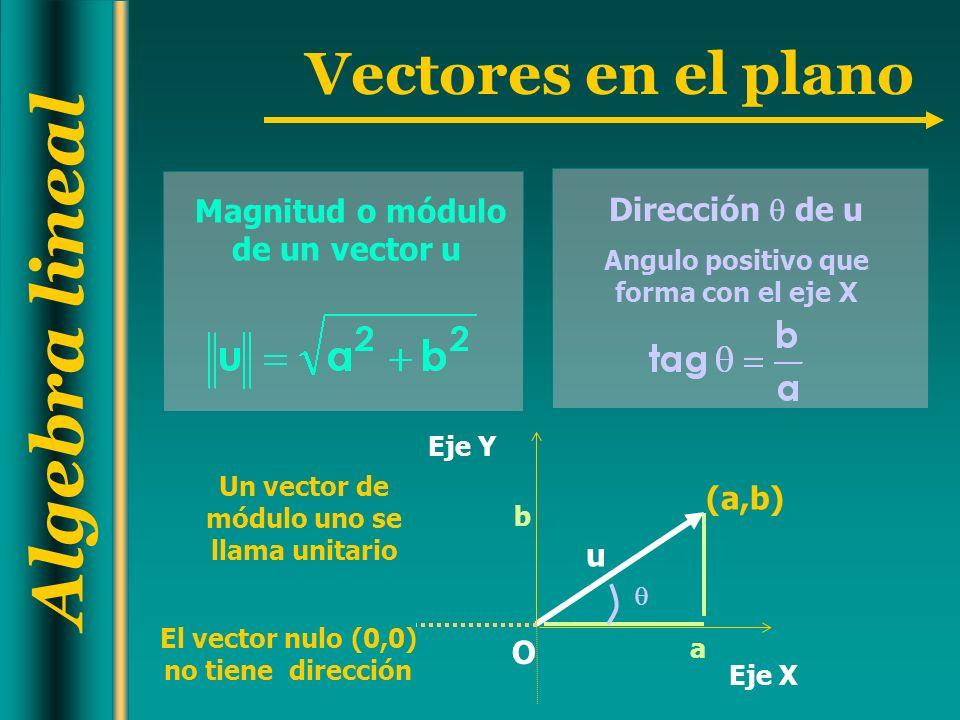 Algebra lineal Vectores en el plano Magnitud o módulo de un vector u El vector nulo (0,0) no tiene dirección Dirección de u Angulo positivo que forma