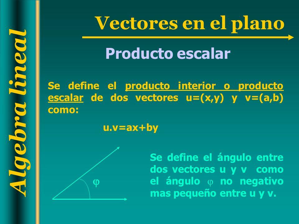 Algebra lineal Vectores en el plano Se define el producto interior o producto escalar de dos vectores u=(x,y) y v=(a,b) como: u.v=ax+by Se define el á