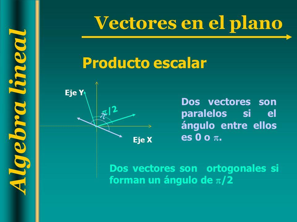 Algebra lineal Vectores en el plano Dos vectores son paralelos si el ángulo entre ellos es 0 o. Dos vectores son ortogonales si forman un ángulo de /2