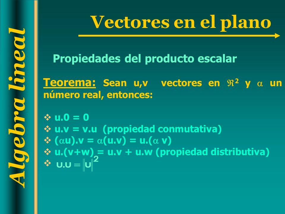 Algebra lineal Vectores en el plano Propiedades del producto escalar Teorema: Sean u,v vectores en 2 y un número real, entonces: u.0 = 0 u.v = v.u (pr
