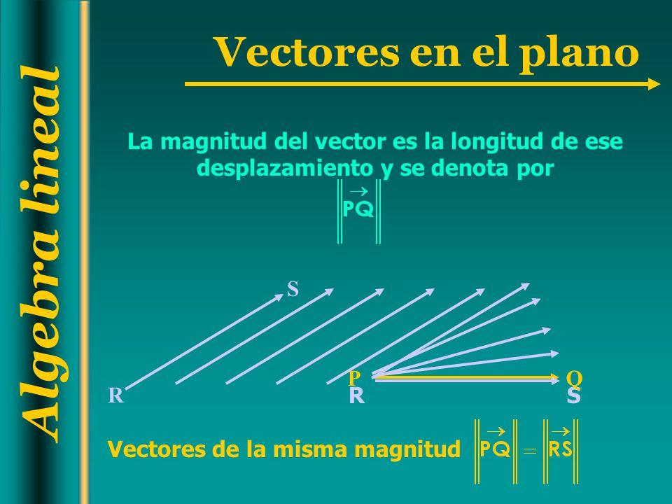 Algebra lineal Vectores en el plano RS PQ S R La magnitud del vector es la longitud de ese desplazamiento y se denota por Vectores de la misma magnitu