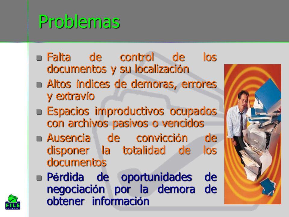 Problemas Falta de control de los documentos y su localizaci ó n Falta de control de los documentos y su localizaci ó n Altos í ndices de demoras, err