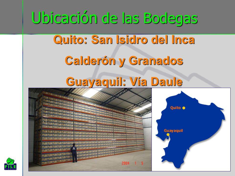 Ubicación de las Bodegas Quito: San Isidro del Inca Calderón y Granados Guayaquil: Vía Daule