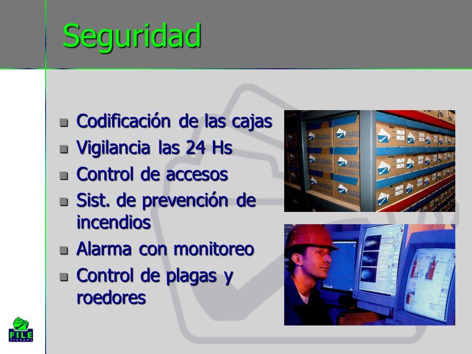 Seguridad Codificación de las cajas Codificación de las cajas Vigilancia las 24 Hs Vigilancia las 24 Hs Control de accesos Control de accesos Sist.