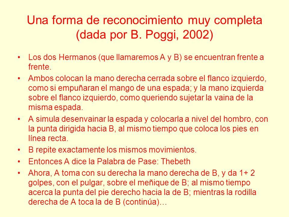 Una forma de reconocimiento muy completa (dada por B. Poggi, 2002) Los dos Hermanos (que llamaremos A y B) se encuentran frente a frente. Ambos coloca