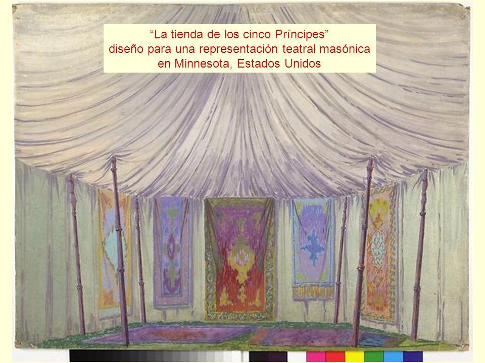 La tienda de los cinco Príncipes diseño para una representación teatral masónica en Minnesota, Estados Unidos