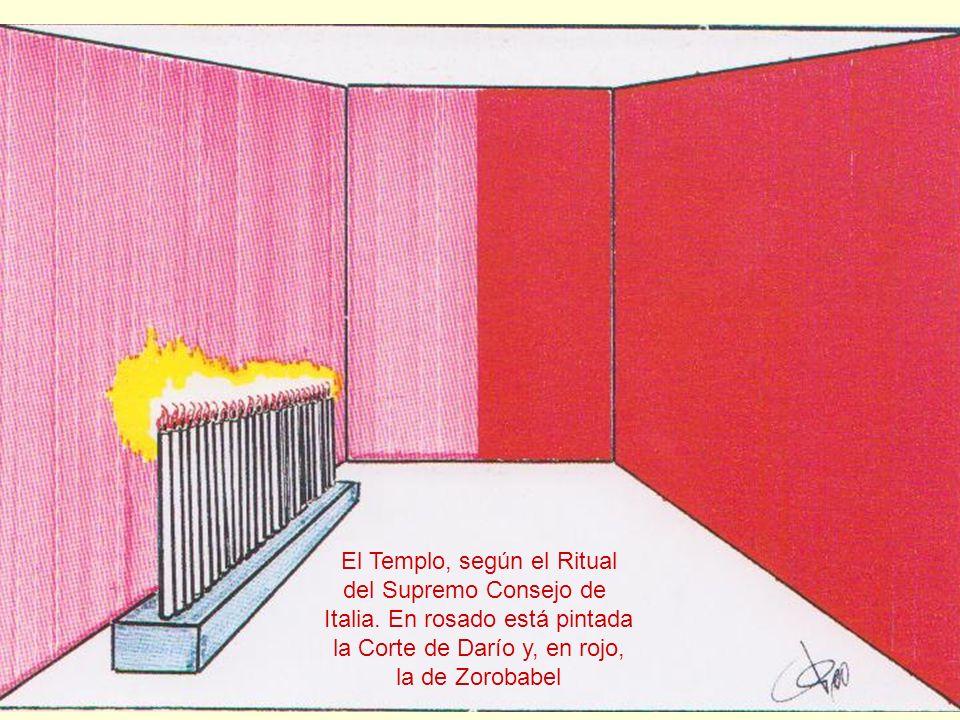 El Templo, según el Ritual del Supremo Consejo de Italia. En rosado está pintada la Corte de Darío y, en rojo, la de Zorobabel