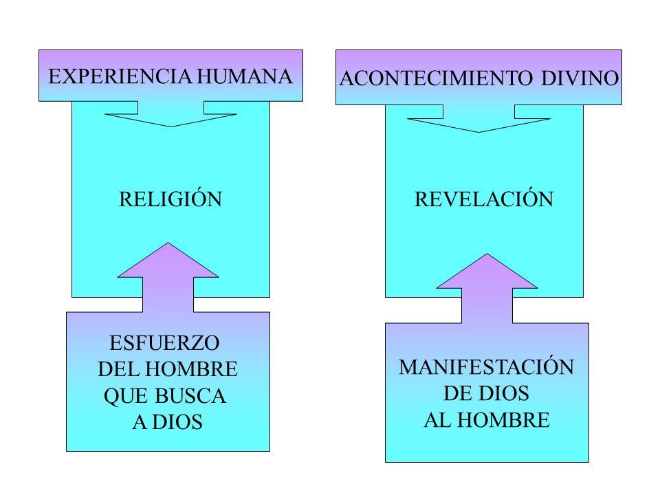 RELIGIÓNREVELACIÓN ESFUERZO DEL HOMBRE QUE BUSCA A DIOS MANIFESTACIÓN DE DIOS AL HOMBRE EXPERIENCIA HUMANA ACONTECIMIENTO DIVINO