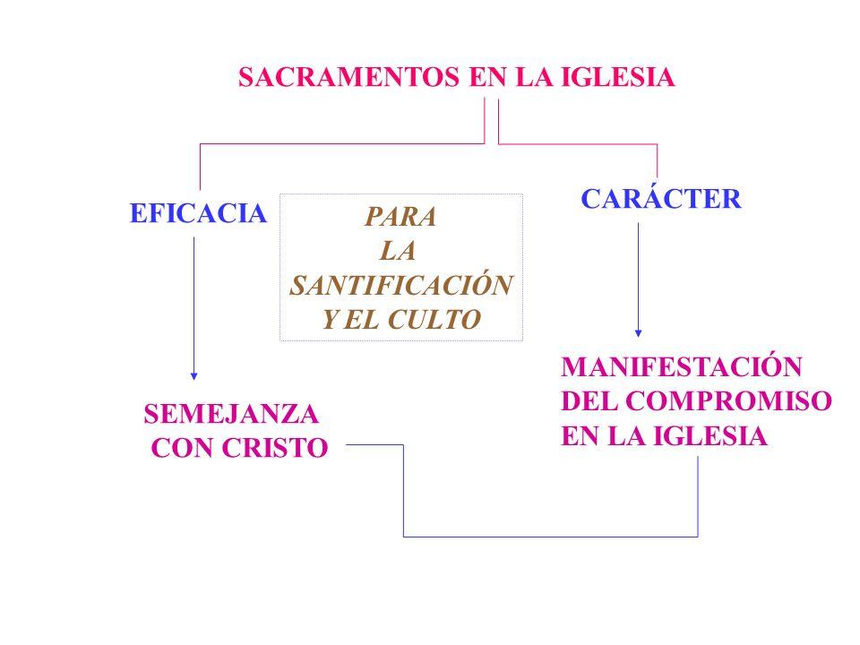 EFICACIA SEMEJANZA CON CRISTO CARÁCTER MANIFESTACIÓN DEL COMPROMISO EN LA IGLESIA SACRAMENTOS EN LA IGLESIA PARA LA SANTIFICACIÓN Y EL CULTO