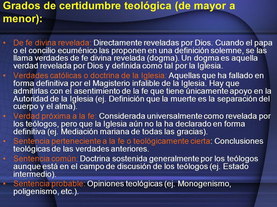 Grados de certidumbre teológica (de mayor a menor): De fe divina revelada: Directamente reveladas por Dios. Cuando el papa o el concilio ecuménico las