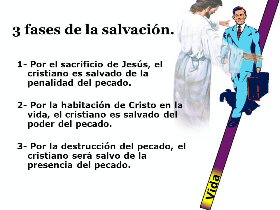 3 fases de la salvación. 1- Por el sacrificio de Jesús, el cristiano es salvado de la penalidad del pecado. 2- Por la habitación de Cristo en la vida,
