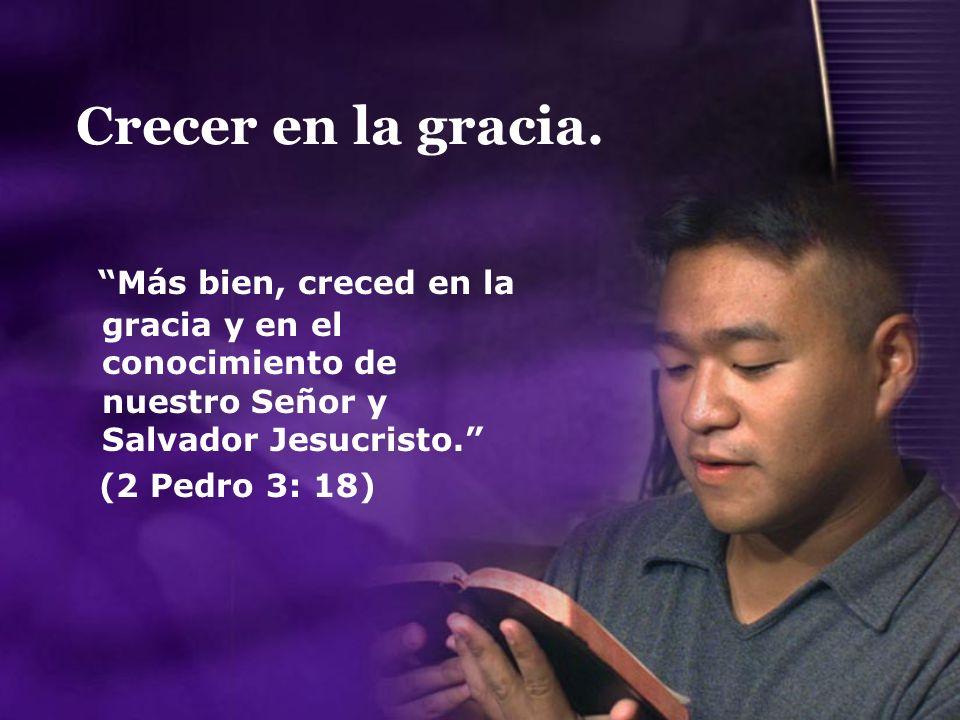 Crecer en la gracia. Más bien, creced en la gracia y en el conocimiento de nuestro Señor y Salvador Jesucristo. (2 Pedro 3: 18)