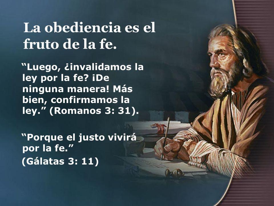 La obediencia es el fruto de la fe. Luego, ¿invalidamos la ley por la fe? ¡De ninguna manera! Más bien, confirmamos la ley. (Romanos 3: 31). Porque el