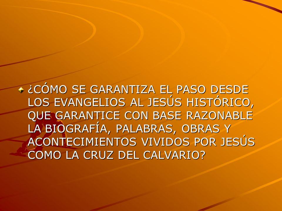 ¿CÓMO SE GARANTIZA EL PASO DESDE LOS EVANGELIOS AL JESÚS HISTÓRICO, QUE GARANTICE CON BASE RAZONABLE LA BIOGRAFÍA, PALABRAS, OBRAS Y ACONTECIMIENTOS V