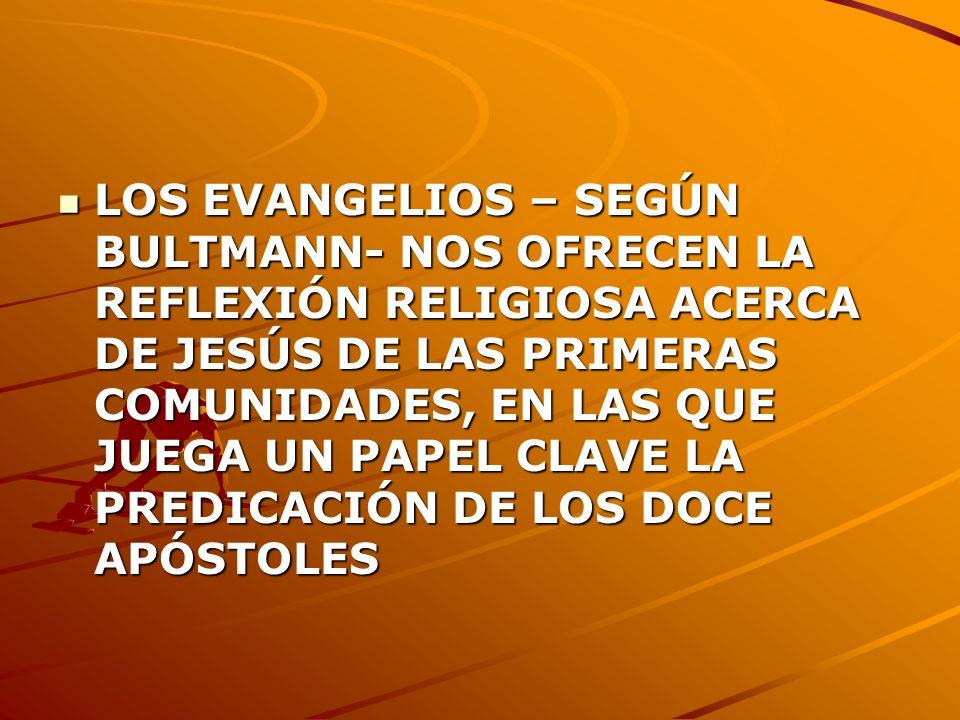 LOS EVANGELIOS – SEGÚN BULTMANN- NOS OFRECEN LA REFLEXIÓN RELIGIOSA ACERCA DE JESÚS DE LAS PRIMERAS COMUNIDADES, EN LAS QUE JUEGA UN PAPEL CLAVE LA PR