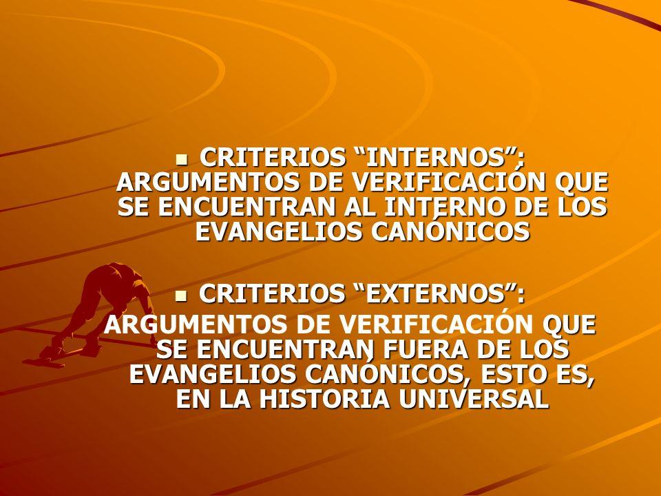 CRITERIOS INTERNOS: ARGUMENTOS DE VERIFICACIÓN QUE SE ENCUENTRAN AL INTERNO DE LOS EVANGELIOS CANÓNICOS CRITERIOS INTERNOS: ARGUMENTOS DE VERIFICACIÓN