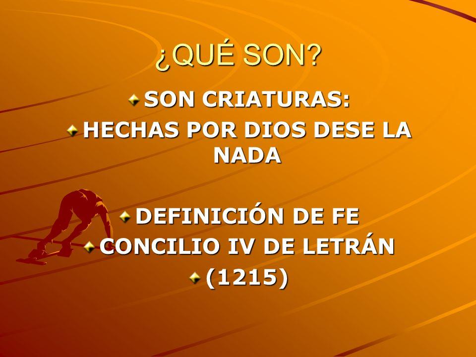 ¿QUÉ SON? SON CRIATURAS: HECHAS POR DIOS DESE LA NADA DEFINICIÓN DE FE CONCILIO IV DE LETRÁN (1215)