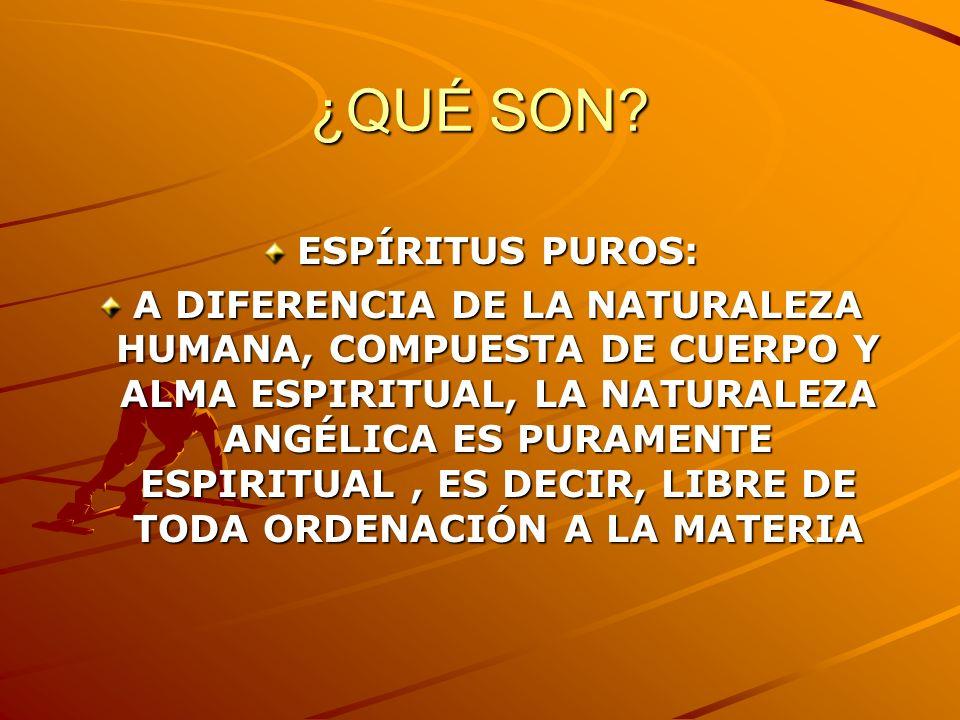 ¿QUÉ SON? ESPÍRITUS PUROS: A DIFERENCIA DE LA NATURALEZA HUMANA, COMPUESTA DE CUERPO Y ALMA ESPIRITUAL, LA NATURALEZA ANGÉLICA ES PURAMENTE ESPIRITUAL
