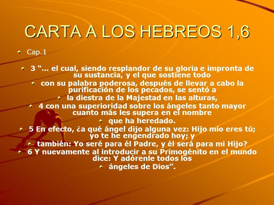 CARTA A LOS HEBREOS 1,6 Cap.1 3 … el cual, siendo resplandor de su gloria e impronta de su sustancia, y el que sostiene todo con su palabra poderosa,